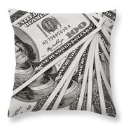 Hundred Dollar Bills Throw Pillow