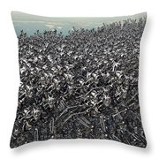 Hundreds Of Robots Running Wild Throw Pillow
