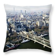 Hungerford Bridge Seen From London Eye Throw Pillow