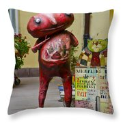Hungry Alien Throw Pillow