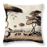 Hunting At Meritsane, Throw Pillow