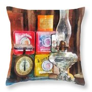 Hurricane Lamp And Scale Throw Pillow by Susan Savad