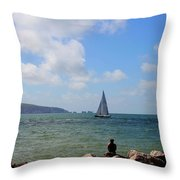 Hurst Point Watching  Throw Pillow