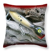 Husband Anniversary Card - Saltwater Fishing Lure - Popper Throw Pillow