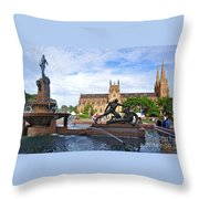 Hyde Park Fountain And St. Mary's Cathedral Throw Pillow