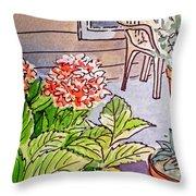 Hydrangea Sketchbook Project Down My Street Throw Pillow by Irina Sztukowski