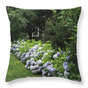 Hydrangeas In Bloom Along A Landscaped Throw Pillow