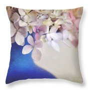 Hydrangeas In Deep Blue Vase Throw Pillow
