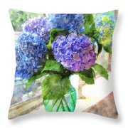 Hydrangeas In The Sun Throw Pillow