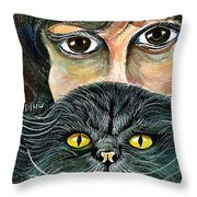 Hypnotic Cat Eyes Throw Pillow