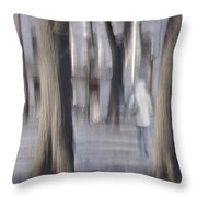 Girl Walking In The Park Throw Pillow