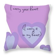 I Carry Your Heart I Carry It In My Heart - Lilac Purples Throw Pillow