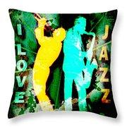 I Love Jazz Throw Pillow