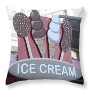 Ice Cream Sign Throw Pillow