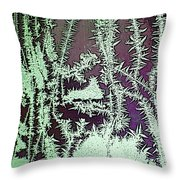Ice Crystals Purple Throw Pillow
