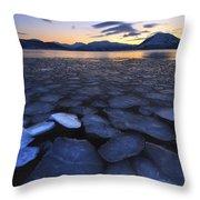 Ice Flakes Drifting Towards Throw Pillow by Arild Heitmann