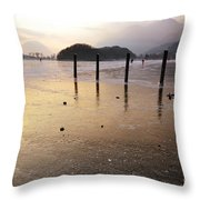 Ice On A Lake In Sunset Throw Pillow