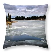 Ice On The Yellowstone River Throw Pillow
