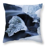 Ice Patches In Stream, Bavarian Forest Throw Pillow