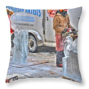Ice Sculptures Coming About Throw Pillow