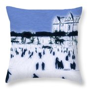 Ice Skating In Central Park Throw Pillow