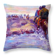 Icelandic Horse Trail Ride Throw Pillow
