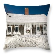 Icicles Hang From The Roof Of This Home In Barnstable On Cape Co Throw Pillow