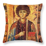 Icon Of Saint Pantaleon Throw Pillow by Science Source