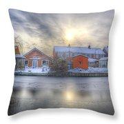 Icy River Panorama Throw Pillow