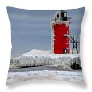 Icy South Haven Mi Lighthouse Throw Pillow