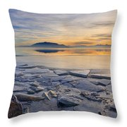 Icy Sunset On Utah Lake Throw Pillow
