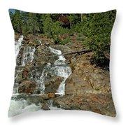 Icy Water Falls Glen Alpine Falls Throw Pillow