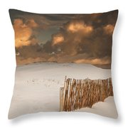 Illuminated Clouds Glowing Over A Snow Throw Pillow