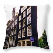 Illusion Of A Two Dimensional Building In Amsterdam Throw Pillow