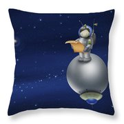 Illustration Of A Cartoon Astronaut Throw Pillow