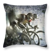 Illustration Of Cyclists Throw Pillow
