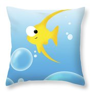 Illustration Of Fish And Bubbles Throw Pillow