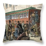 Immigrants, Nyc, 1880 Throw Pillow