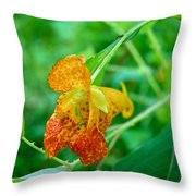 Impatiens Capensis - Orange Spotted Jewelweed Throw Pillow