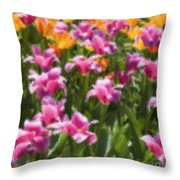 Impressionist Tulips In A Field Throw Pillow