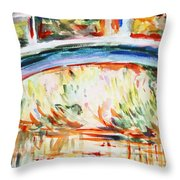 Impressions On Monet Painting Of Pond With Waterlilies  Throw Pillow