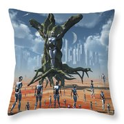 In An Alternate Reality Cyborgs Pay Throw Pillow