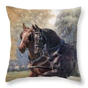 In Double Harness. Illustration By Lucy Throw Pillow
