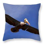 In Flight Pelican Throw Pillow