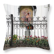 In Front Of Church Throw Pillow