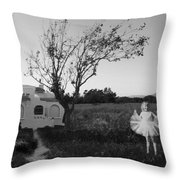 In My Dreams I Am A Little Girl Bw Throw Pillow