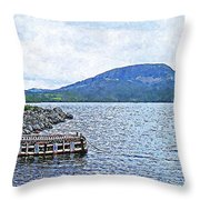 In The Shelter Of The Blue Cliff Throw Pillow