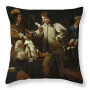 In The Studio Throw Pillow by Michael Sweerts
