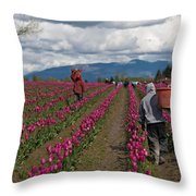 In The Tulip Fields Throw Pillow