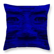 In Your Face In Blue Throw Pillow